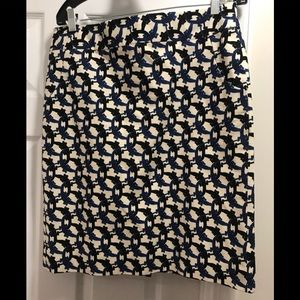 J Crew skirt with a pop of blue